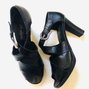 Brighton VOGUE Black Italian Leather Strappy Pumps